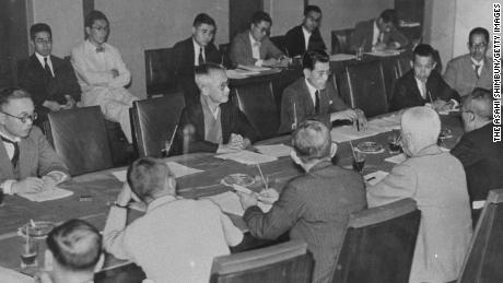 A general view of the 1940 Tokyo Olympic Organising Committee meeting, when the forfeiture of the 1940 Tokyo Olympic was decided, at Mantetsu Kaikan, on July 16, 1938 in Tokyo, Japan.  (Photo by The Asahi Shimbun via Getty Images)