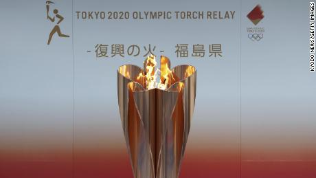 Photo taken March 24, 2020, shows the flame for this year's Tokyo Olympics exhibited in Fukushima.  (Photo by Kyodo News via Getty Images)