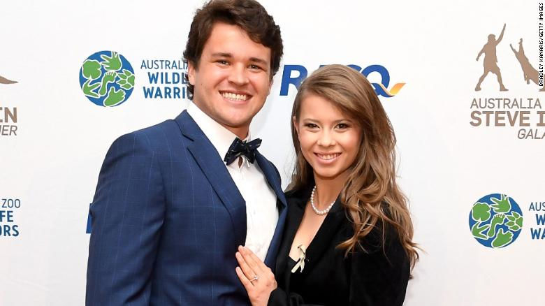 Bindi Irwin poses for a photo with Chandler Powell at the annual Steve Irwin Gala Dinner at Brisbane Convention & Exhibition Centre in November 2019.