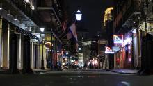 NEW ORLEANS, LA  - MARCH 16: Bourbon Street is empty as Louisiana Governor John Bel Edwards orders bars, gyms and casinos to close until April 13th due to the spread of coronavirus (COVID-19) on March 16, 2020 in New Orleans, Louisiana.  The World Health Organization declared COVID-19 a global pandemic on March 11.   (Photo by Chris Graythen/Getty Images)