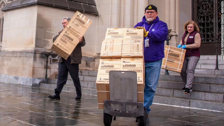 The National Cathedral in Washington donated 5,000 respirator masks to hospitals after finding them in the cathedral's crypt level. They were bought more than a decade ago when Americans were concerned about the bird flu.