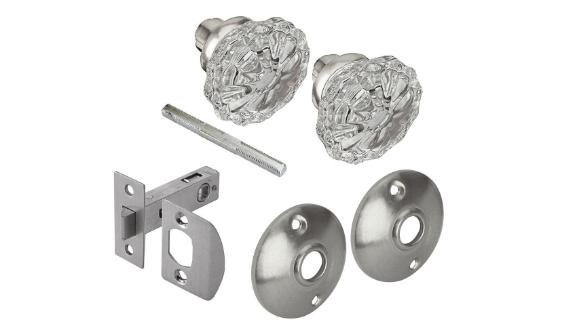 Satin Nickel Victorian Glass Knob Passage Set