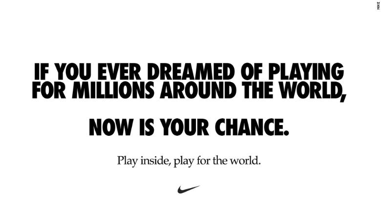 Nike's ad was posted on dozens of its players' social media accounts.
