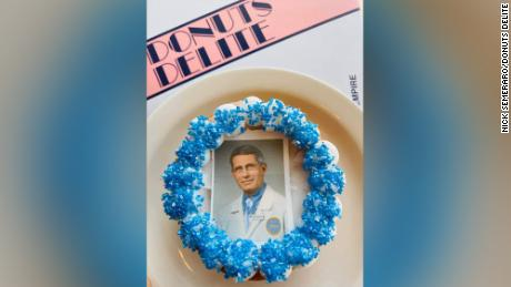 "Dr. Anthony Fauci is now the ""face"" of one of Donut Delite's doughnuts."