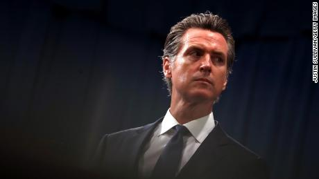 California Gov. Gavin Newsom looks on during a news conference with California attorney General Xavier Becerra at the California State Capitol on August 16, 2019 in Sacramento, California.