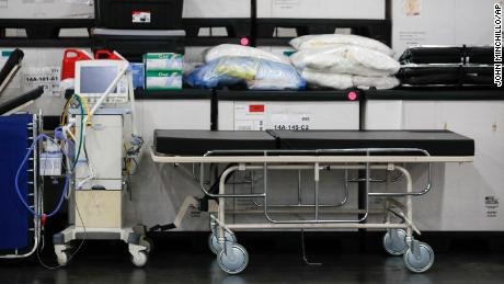 Medical supplies were displayed at the Jacob Javits Center before a news conference with New York Gov. Andrew Cuomo.