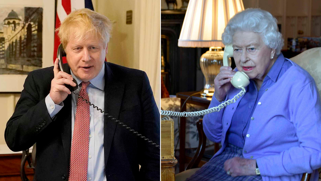 LEFT: LONDON, ENGLAND - MARCH 25: Prime Minister Boris Johnson on the telephone to Queen Elizabeth II for her Weekly Audience during the coronavirus (COVID-19) pandemic at 10 Downing Street on March 25, 2020 in London, England. (Photo by Andrew Parsons-WPA Pool/Getty Images) RIGHT: In this photo made available by Buckingham Palace, Britain's Queen Elizabeth II speaks to Prime Minister Boris Johnson from Windsor Castle, Windsor, England, Wednesday March 25, 2020, for her weekly audience. Prince Charles, the heir to the British throne, has tested positive for the new coronavirus, royal officials confirmed Wednesday. Buckingham Palace said Queen Elizabeth II, 93, remains at her Windsor Castle home west of London with her 98-year-old husband, Prince Philip. (Buckingham Palace via AP)