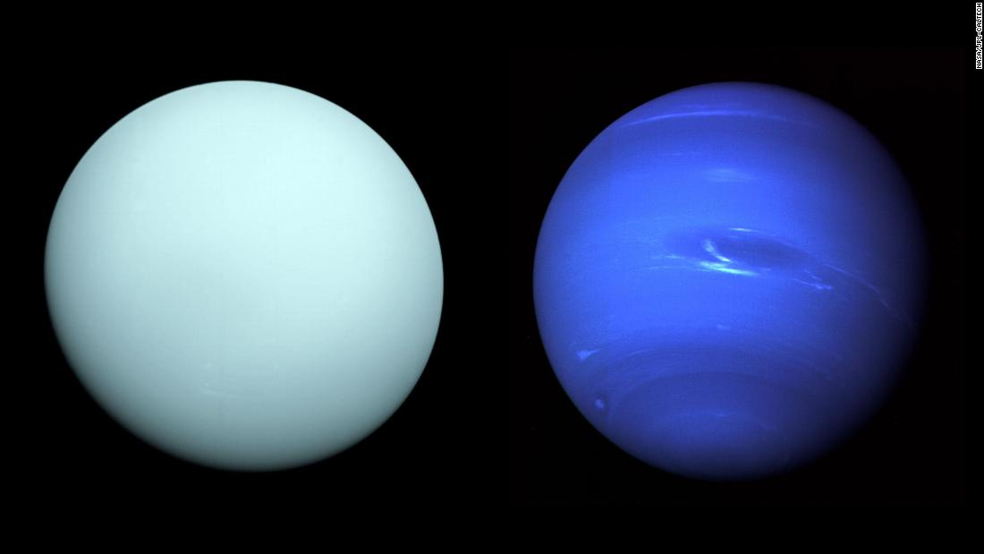 NASA's Voyager 2 spacecraft visited Uranus (left) in 1986 and Neptune (right) in 1989.