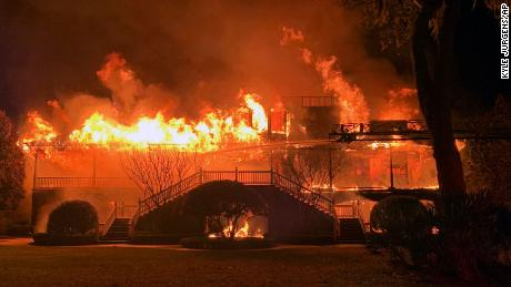 The house of Hall of Fame golfer Davis Love III is destroyed by fire on St. Simons Island, Ga., on Friday, March 27.