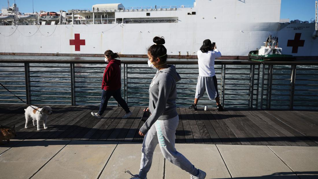 "People wearing face masks walk near the USNS Mercy after the Navy hospital ship arrived in the Los Angeles area <a href=""https://www.cnn.com/2020/03/27/us/california-hospital-ship-trnd/index.html"" target=""_blank"">to assist local hospitals</a> dealing with the coronavirus pandemic."