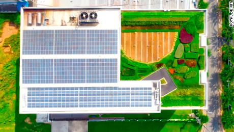 DBW from the air. The roof is fitted out with solar panels and a garden, and is painted with light-reflecting paint.