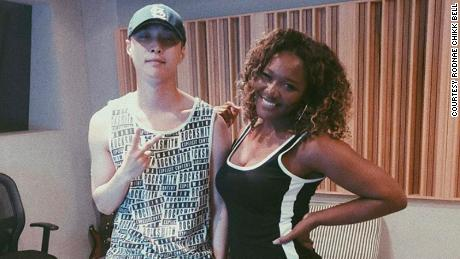 Chikk (right) with Lay of K-pop group EXO.