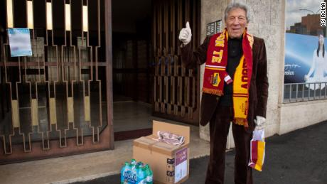 Elderly Romans who are fans of AS Roma are getting boxes of food and medical supplies.