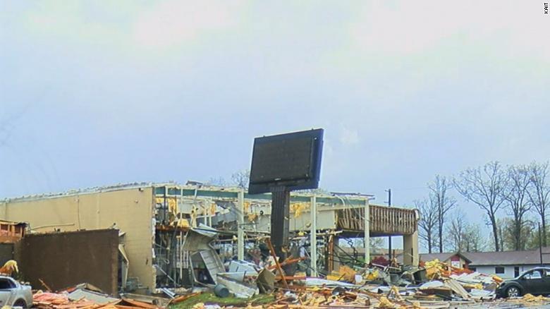Storm damage in Jonesboro, Arkansas, on Saturday.