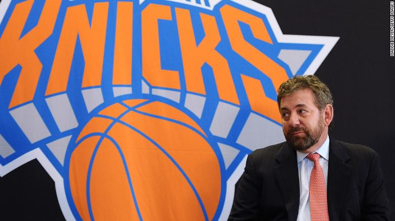 James Dolan at the 2014 the press conference that introduced Phil Jackson as president of the New York Knicks.