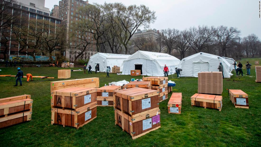 Central Park turns into a field hospital as New York surpasses 1,000 coronavirus deaths