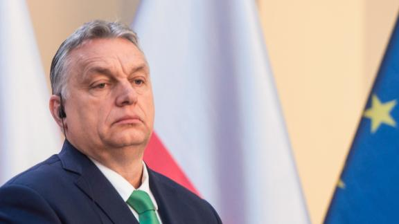 Hungary's Prime Minister Viktor Orban gives a joint press conference with Czech Republic's Prime Minister, Poland's Prime Minister and Slovakia's Prime Minister after a meeting of representatives of the Visegrad Group (V4), focusing on measures in response to the new coronavirus COVID-19, on March 4, 2020 in Prague. (Photo by Michal Cizek / AFP) (Photo by MICHAL CIZEK/AFP via Getty Images)