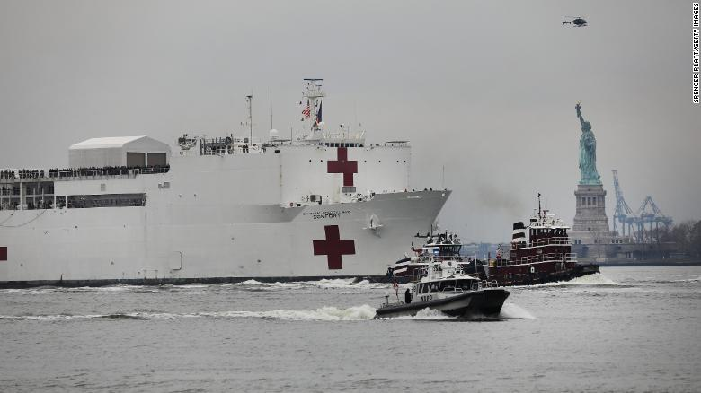 """The USNS Comfort, a Navy hospital ship, reaches New York City on Monday, March 30. Another hospital ship is in Los Angeles. <a href=""""https://www.cnn.com/2020/03/27/us/california-hospital-ship-trnd/index.html"""" target=""""_blank"""">Both will take some of the pressure off medical facilities</a> that are strained because of the coronavirus pandemic."""