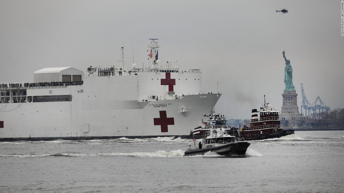 "The USNS Comfort, a Navy hospital ship, reaches New York City on March 30, 2020. Another hospital ship was in Los Angeles to<a href=""https://www.cnn.com/2020/03/27/us/california-hospital-ship-trnd/index.html"" target=""_blank""> take some of the pressure off medical facilities</a> that were strained because of the pandemic."