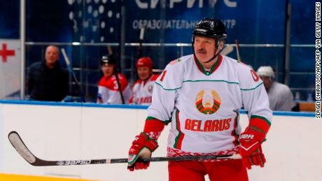 Belarus President Alexander Lukashenko takes part in an ice hockey match at Shayba Arena in the Black sea resort of Sochi, Russia, on February 15, 2019. (Photo by Sergei CHIRIKOV / POOL / AFP)        (Photo credit should read SERGEI CHIRIKOV/AFP via Getty Images)