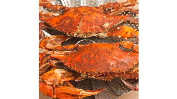 The Maryland box includes Maryland blue crabs and spiced shrimp.
