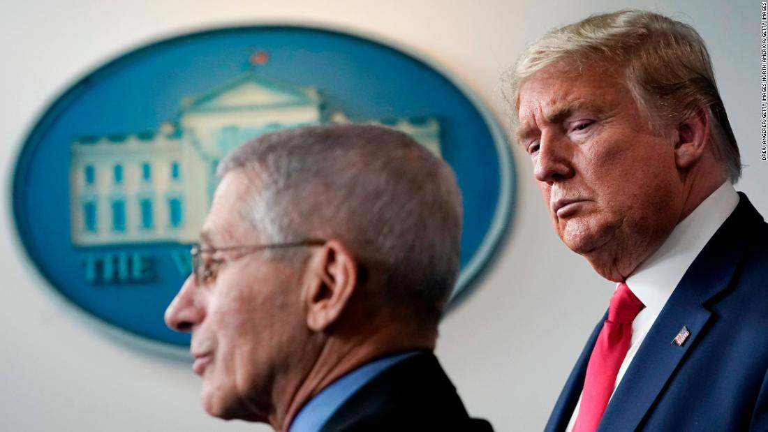 President Trump listens to Dr. Anthony Fauci speak during a briefing on the coronavirus pandemic at the White House on March 24.