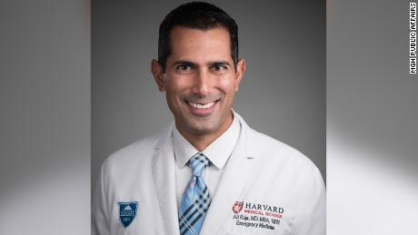 """Ali Raja, an emergency physician at Mass General, uses Twitter to share coronavirus information. """"We have to be constantly vigilant about trying to get that panic under control and spread a different message,"""" Raja told CNN Business."""
