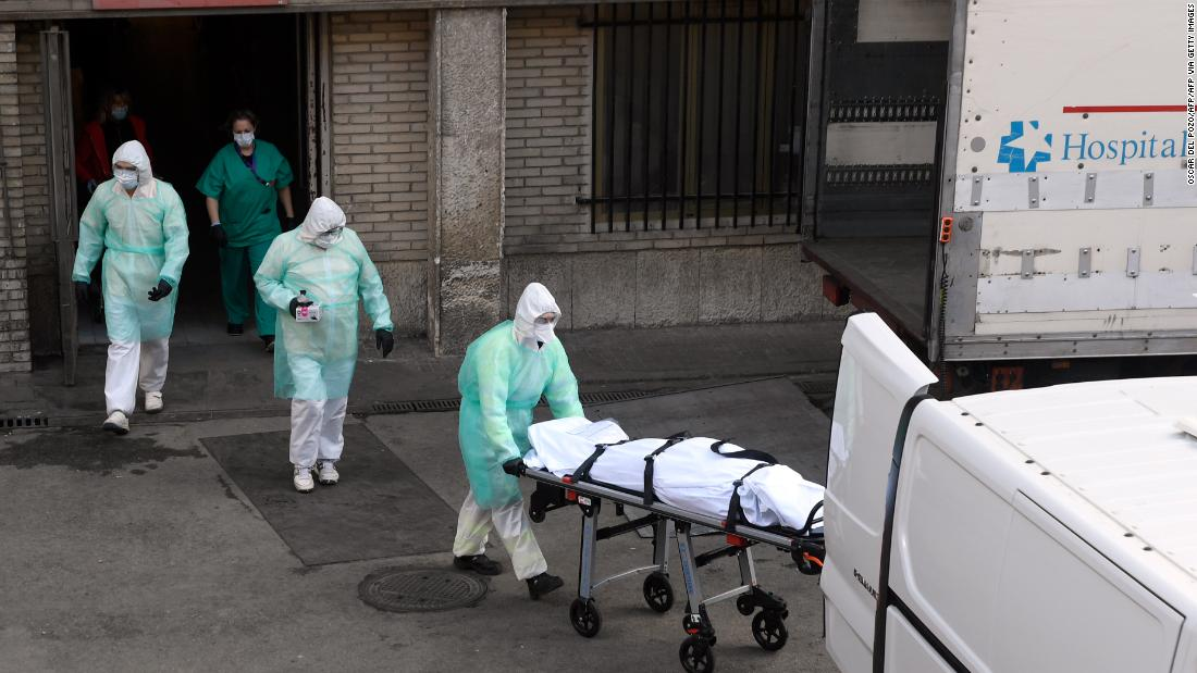 Spain passes 10,000 deaths after its highest single-day rise yet -- but the curve is stabilizing