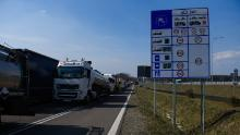 Trucks wait to be processed at the Polish-Ukrainian border.