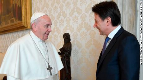 Pope Francis meets with Italian Prime Minister Giuseppe Conte at the Vatican on Monday.