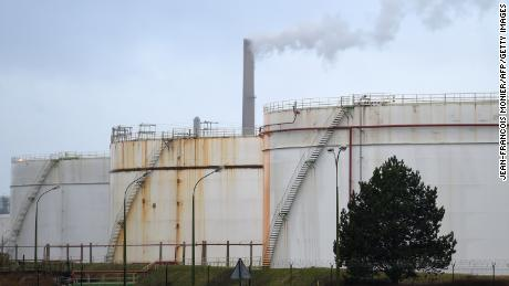 A picture taken on December 14, 2019 shows the Total oil refinery at Gonfreville-l'Orcher, near Le Havre, northwestern France, after a fire erupted but was brought under control. - There were no injuries, local authorities said. The blaze started at about 4am in a pump at the plant at Gonfreville-l'Orcher, near the port city of Le Havre, the local prefecture of the Seine-Maritime region said. It said the blaze has been brought under control and is dying out though some small fires remained. (Photo by Jean-Francois Monier/AFP/Getty Images)