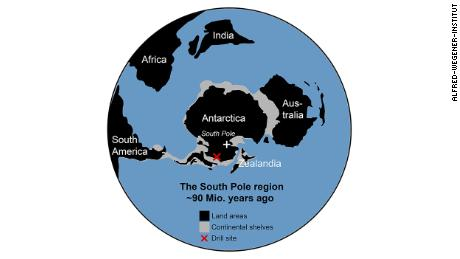 This map shows how the continents were arranged 90 million years ago. A red X marks the drill site.