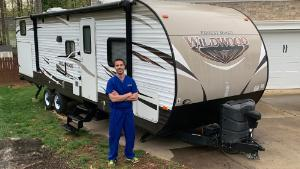 After matching with some kind RV owners through RVs for MDs, Mark Quale is able to comfortably isolate himself away from his family.