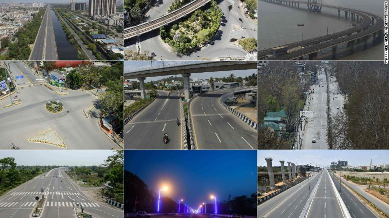 These pictures taken on March 25 show deserted streets across India. The top row, from left to right, shows Ghaziabad, New Delhi, Mumbai. The middle row, left to right, is Allahabad, Chennai, Kashmir. The bottom row, left to right, depicts Siliguri, Kolkata, and Bangalore.