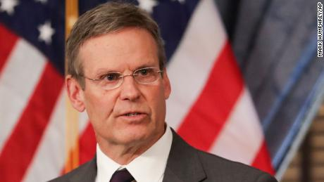 Tennessee Gov. Bill Lee answers questions concerning the state's response to the coronavirus during a news conference in Nashville on March 16.