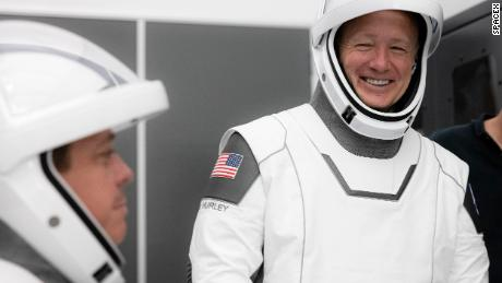 In March, SpaceX and NASA teams executed a full simulation of launch and docking of the Crew Dragon spacecraft, with NASA astronauts Bob Behnken (left) and Doug Hurley.