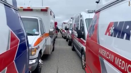 Paramedics and EMTs from all over the country arrived in New York City on Tuesday