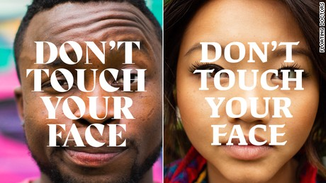 """Floating Doctors, a US medical relief group, has launched a """"Don't Touch Your Face"""" campaign to implore people to break the physical and psychological habit of touching their face."""