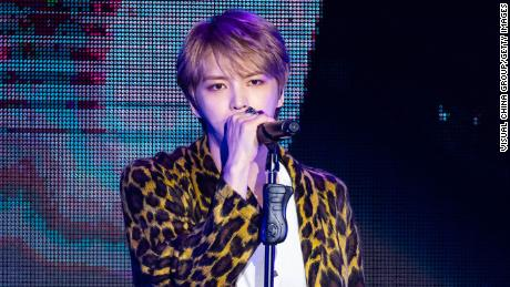 TAIPEI, CHINA - FEBRUARY 16: South Korean singer Kim Jae-joong performs onstage during a fan meeting on February 16, 2019 in Taipei, Taiwan of China. (Photo by Visual China Group via Getty Images/Visual China Group via Getty Images)