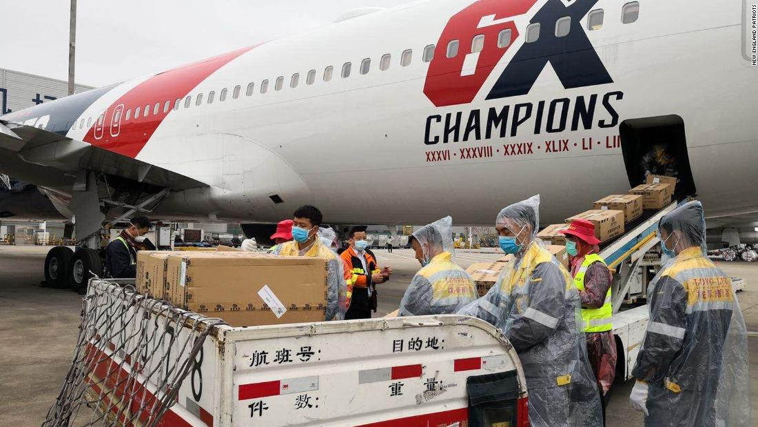 New England Patriots team plane flying 1.2 million medical masks from China