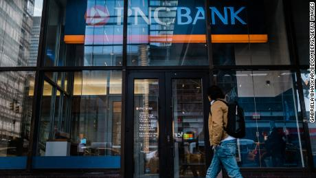 A pedestrian passes in front of a PNC Financial Services Group Inc. bank branch in New York, U.S., on Saturday, Jan. 11, 2020. PNC Financial Services Group Inc. is scheduled to release earnings figures on January 15. Photographer: Gabriela Bhaskar/Bloomberg via Getty Images
