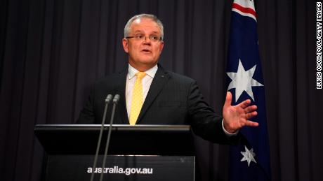 CANBERRA, AUSTRALIA - MARCH 24: Australian Prime Minister Scott Morrison addresses the media and the nation during a press conference at Parliament House on March 24, 2020 in Canberra, Australia. Morrison has revealed new restrictions Australia-wide from midnight tomorrow to help prevent the spread of COVID-19. There are now 2,139 confirmed cases of COVID-19 in Australia and the death toll now stands at eight. (Photo by Lukas Coch - Pool/Getty Images)
