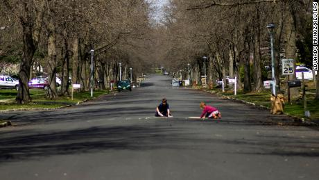 Kids playing in a street in Matawan, New Jersey on April 1, 2020.