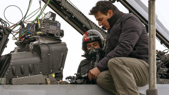 "Monica Barbaro and Tom Cruise star in ""Top Gun: Maverick"""