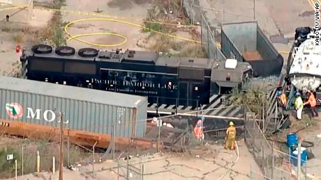 This aerial image taken from video provided by KABC-TV shows a Pacific Harbor Line train that derailed Tuesday, March 31, 2020, at the Port of Los Angeles.