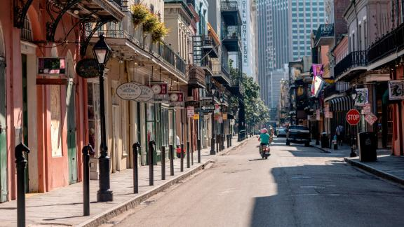 Royal Street is pictured during the stay-at-home mandate in New Orleans, Louisiana, on March 26, 2020.