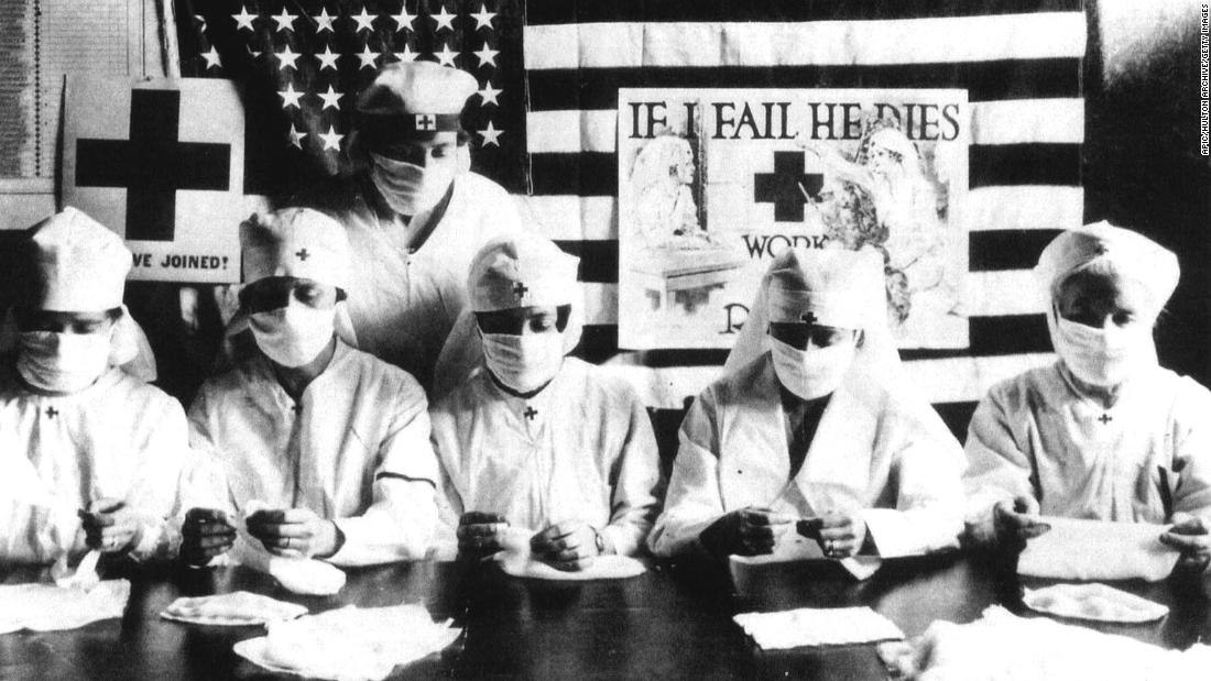 Red Cross volunteers wore face masks during the flu pandemic of 1918.