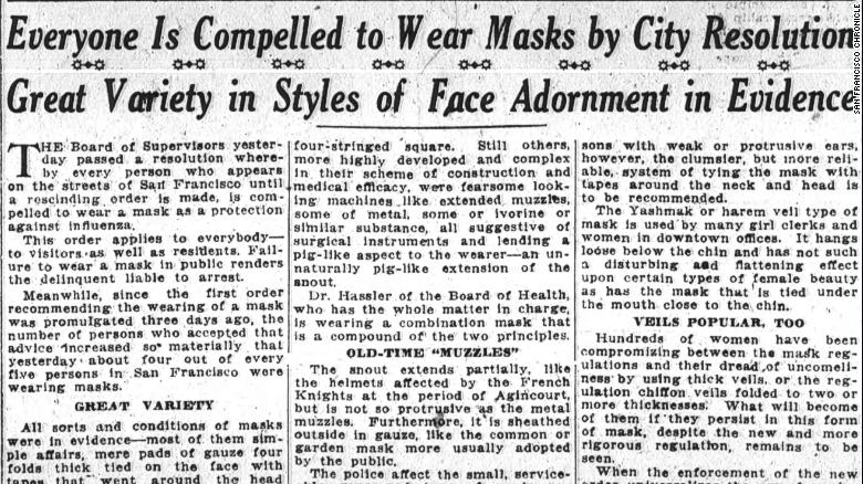 Un articolo sul San Francisco Chronicle del 25 ottobre 1918.