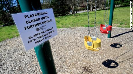 A playground in Louisville, Kentucky remains closed due to the coronavirus.