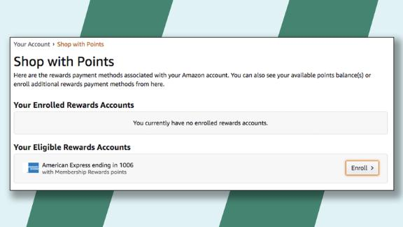 """You'll need to enroll your eligible Amex card in Amazon's """"Shop with Points"""" program."""